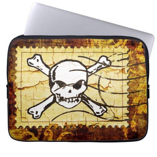 Funny Skull Stamp Vintage 3 Laptop Computer Sleeves