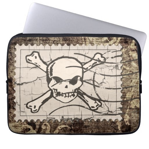 Funny Skull Stamp Vintage Laptop Sleeve