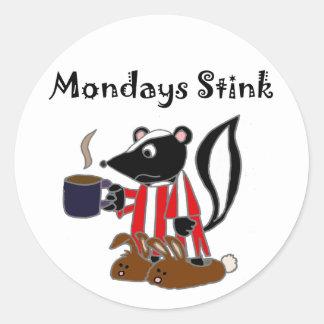 Funny Skunk Hates Mondays Round Sticker