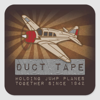 Funny Skydiving Duct Tape Square Stickers, Glossy Square Sticker