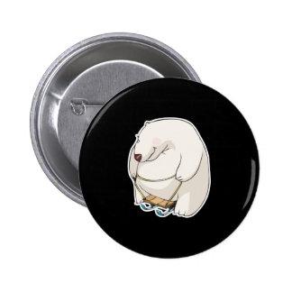 funny sledding chubby polar bear 6 cm round badge
