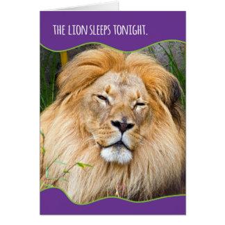 Funny Sleepy Lion Birthday Greeting Card