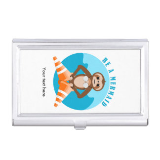 Funny Sloth Be a Mermaid Business Card Holder