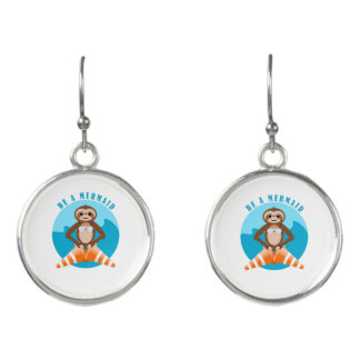 Funny Sloth Be a Mermaid Earrings