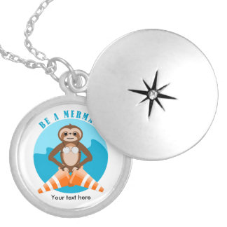 Funny Sloth Be a Mermaid Locket Necklace