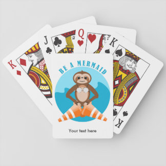 Funny Sloth Be a Mermaid Playing Cards