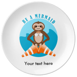 Funny Sloth Be a Mermaid Porcelain Plates