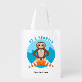 Funny Sloth Be a Mermaid Reusable Grocery Bag