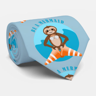 Funny Sloth Be a Mermaid Tie
