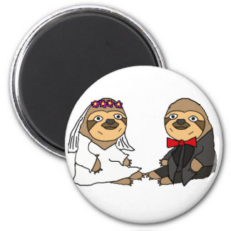 Funny Sloth Bride and Groom Wedding 6 Cm Round Magnet