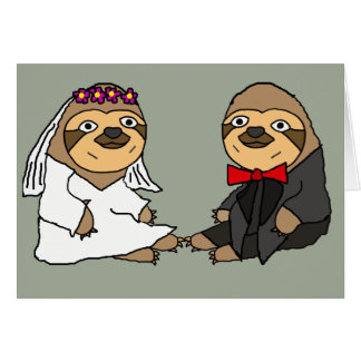 Funny Sloth Bride and Groom Wedding Card