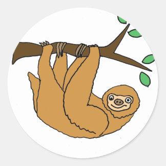 Funny Sloth Cartoon Round Sticker
