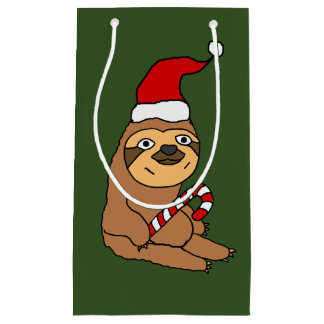 Funny Sloth in Santa Hat Christmas Gift Bag