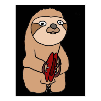 Funny Sloth Playing Cymbals Art Postcard