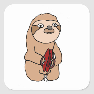 Funny Sloth Playing Cymbals Art Square Sticker