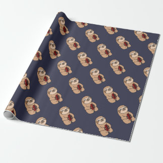 Funny Sloth Playing Cymbals Art Wrapping Paper