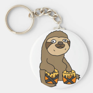 Funny Sloth Playing the Bongo Drums Key Ring