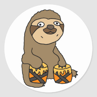 Funny Sloth Playing the Bongo Drums Round Sticker
