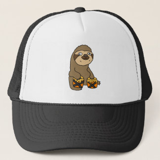 Funny Sloth Playing the Bongo Drums Trucker Hat