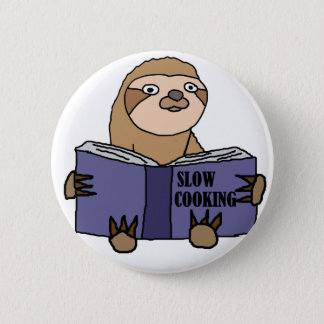 Funny Sloth Reading Slow Cooking Book 6 Cm Round Badge