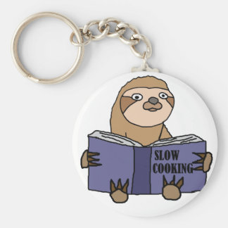 Funny Sloth Reading Slow Cooking Book Key Ring