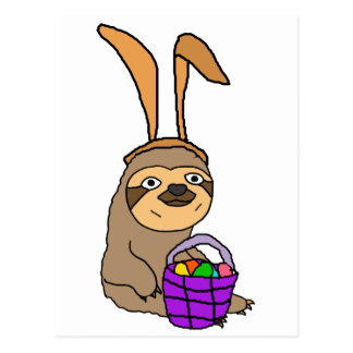 Funny Sloth Wearing Easter Bunny Ears Postcard