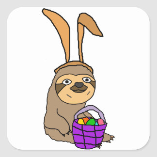 Funny Sloth Wearing Easter Bunny Ears Square Sticker
