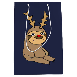 Funny Sloth with Reindeer Antlers Christmas Medium Gift Bag