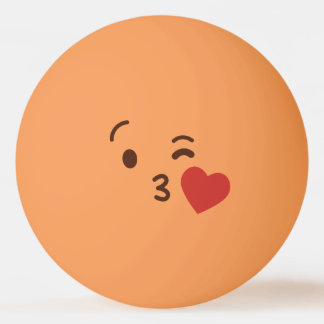 Funny Smiley Face. Emoji. Emoticon. Love You! Ping Pong Ball