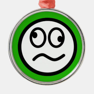 Funny Smiley Face on Green Background Christmas Tree Ornament