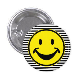 Funny Smiley yellow & stripes + your backg. & idea 3 Cm Round Badge