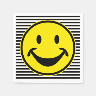Funny Smiley yellow & stripes + your backg. & idea Paper Napkins