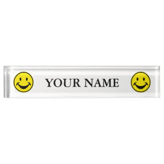 Funny Smiley yellow + your backg. & ideas Nameplate
