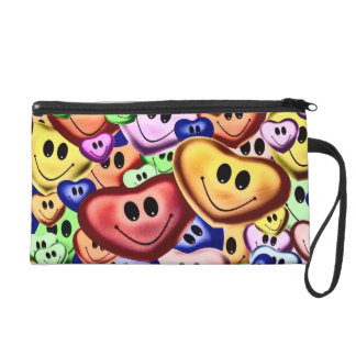 Funny smiling hearts A Wristlet