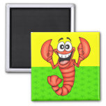 Funny Smiling Lobster Square Magnet