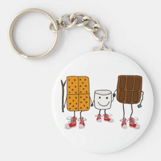 Funny Smores Characters Cartoon Basic Round Button Key Ring