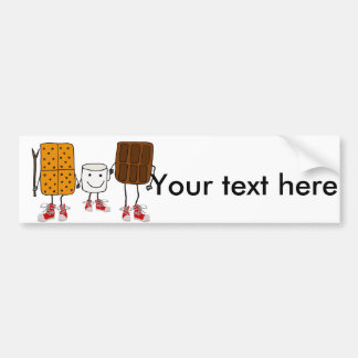 Funny Smores Characters Cartoon Bumper Sticker