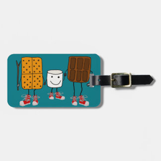 Funny Smores Characters Cartoon Luggage Tag