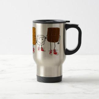Funny Smores Characters Cartoon Travel Mug
