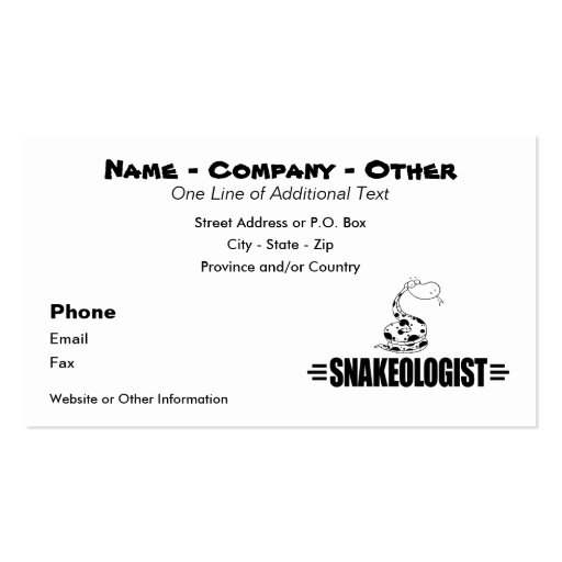 Funny Snake Business Card