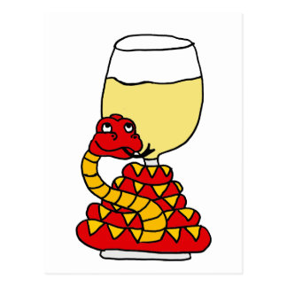 Funny Snake Coiled Around White Wine Glass Postcard