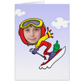 Funny Snow Skier Photo Face Template