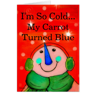 Funny Snowman Card, Holiday Greeting Card Red