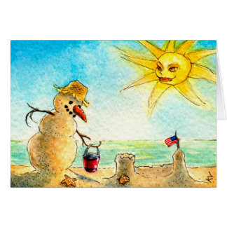 Funny Snowman on beach Holiday greeting card