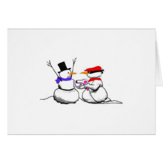 Funny Snowman Stick Up Christmas Card