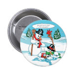 Funny Snowman with Hot Chocolate Cartoon Badges
