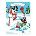 Funny Snowman with Hot Chocolate Cartoon Postcard