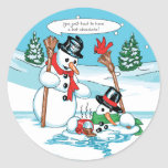 Funny Snowman with Hot Chocolate Cartoon Round Stickers