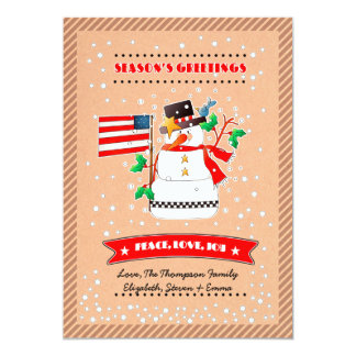"Funny Snowman with U.S. Flag. Christmas Cards 5"" X 7"" Invitation Card"
