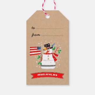 Funny Snowman with US Flag Christmas Gift Tags Pack Of Gift Tags